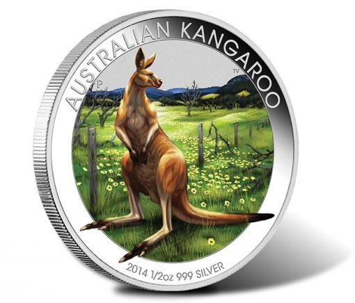 2014 Australian Outback Kangaroo One Half Ounce Silver Coloured Coin
