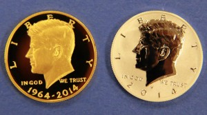 2014-W Proof Kennedy Half-Dollar Gold Coin, 2014-W Reverse Proof Kennedy Half Dollar Silver Coin