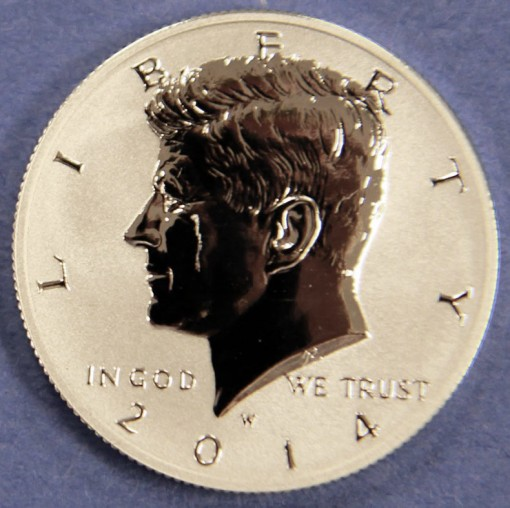2014-W Reverse Proof 50th Anniversary Kennedy Half-Dollar Silver Coin - Obverse