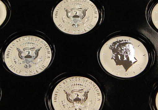 2014-W Reverse Proof 50th Anniversary Kennedy Half-Dollar Silver Coins - Tray, Photo 7