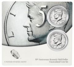 Coin Card for 50th Anniversary Kennedy Half-Dollar Uncirculated Coin Set