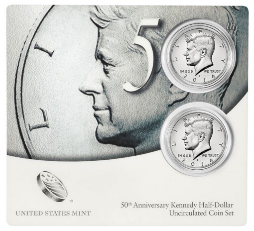 Coin Card for 50th Anniversary Kennedy Half-Dollar Uncirculated Coin Set