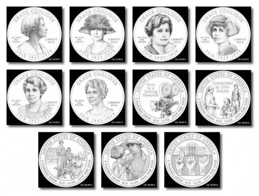 Design Candidates for Grace Coolidge First Spouse Gold Coins