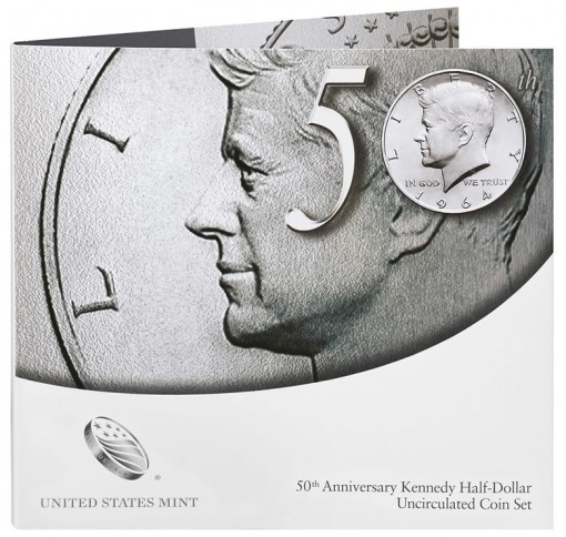 Front View of the Packaging for the 50th Anniversary Kennedy Half-Dollar Uncirculated Coin Set
