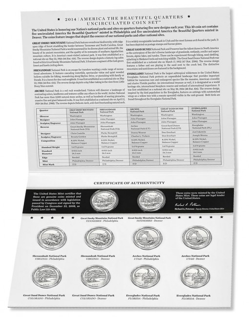 Inside View of the 2014 America the Beautiful Quarters Uncirculated Set
