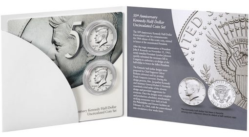 Inside View of the Packaging for the 50th Anniversary Kennedy Half-Dollar Uncirculated Coin Set
