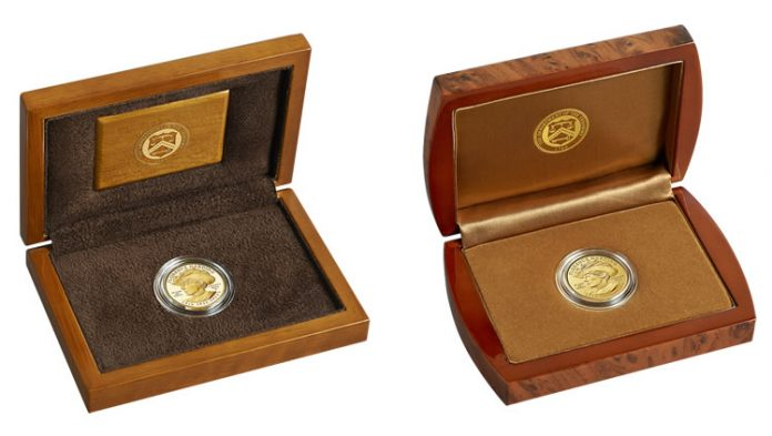 Lacquered Hardwood Presentation Cases for Proof and Uncirculated Florence Harding First Spouse Gold Coins