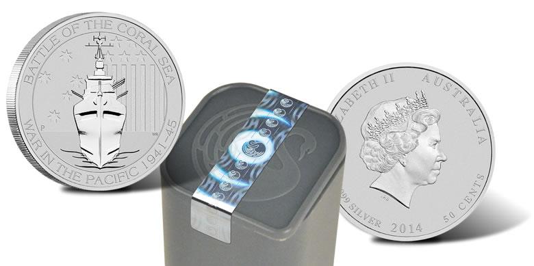 Australia 1//2 oz Silver Battle of the Coral Sea Coin Perth Mint .999 Fine BU