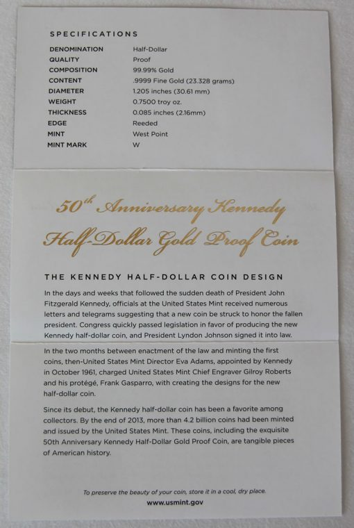 Photo of the inside, unfolded Certificate of Authenticity for Kennedy Half-Dollar Gold Coin