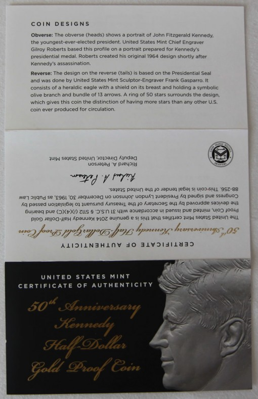 Photo of the outside, unfolded Certificate of Authenticity for Kennedy Half-Dollar Gold Coin