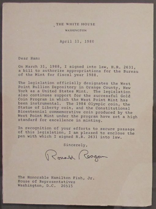 President Reagan Letter, West Point Designated as U.S. Mint