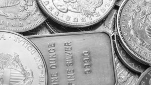 Silver coins and silver bullion bar