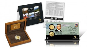 US Mint Gold Coins, Quarters Set and $1 Coin Cover