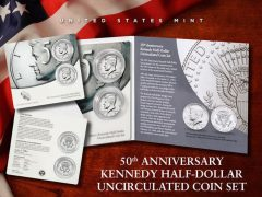 US Mint Promotion image for its 50th Anniversary Kennedy Half-Dollar Uncirculated Coin Set