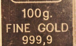 100g fine gold 999.9 bar