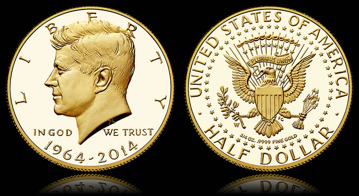 1964 2017 Proof 50th Anniversary Kennedy Half Dollar Gold Coin
