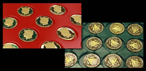 1964-2014 Proof 50th Anniversary Kennedy Half-Dollar Gold Coins - Obverse and Reverse Sides