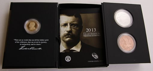 2013 Theodore Roosevelt Coin and Chronicles Set opened all the way