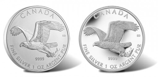2014 $5 Canadian Bald Eagle Silver Coins - Bullion and Numismatic Version
