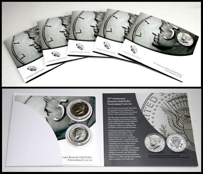 2014 50th Anniversary Kennedy Half-Dollar Uncirculated Coin Sets - Outsides and Inside