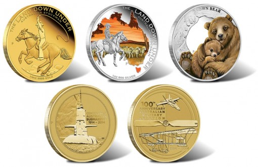 2014 Australian Gold, Silver and Bronze Coins for August
