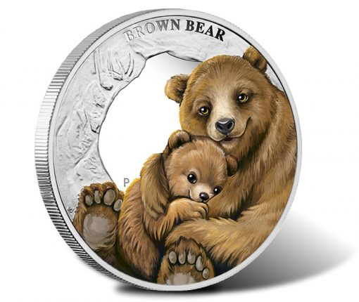 2014 Brown Bear Silver Proof Coin - Mother's Love Series