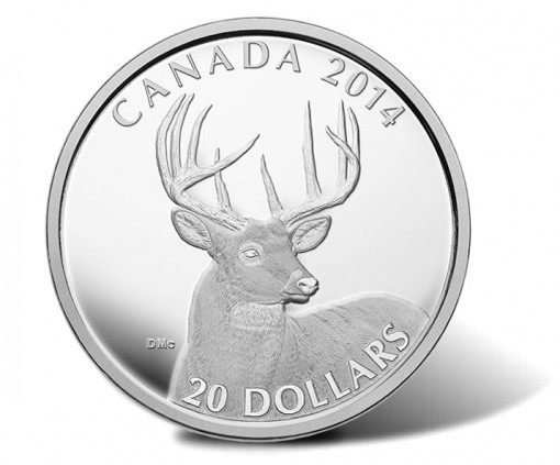 2014 Canadian White-Tailed Deer Silver Coin