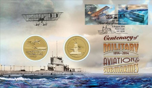 2014 Centenary of Military Aviation and Submarines Stamp and Coin Cover
