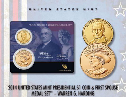 2014 Harding Presidential $1 Coin & Medal Set  (US Mint image)