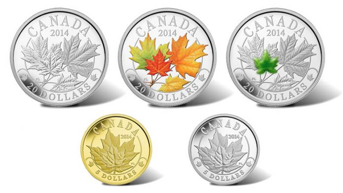 2014 Majestic Maple Leaves Coins - Silver, Silver with Color, Silver with Jade, Gold and Platinum