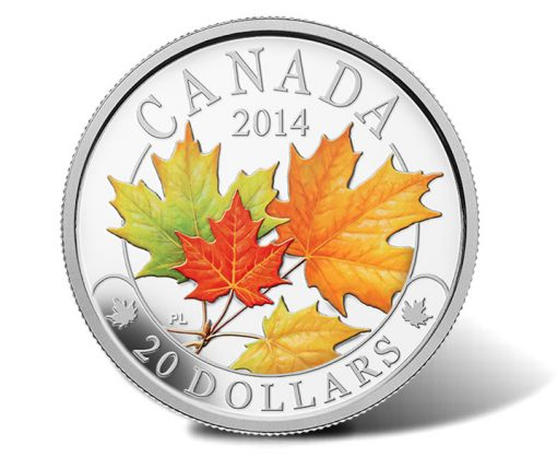 2014 Majestic Maple Leaves Colored Silver Coin