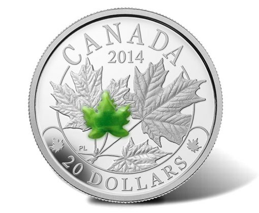 2014 Majestic Maple Leaves Silver Coin with Jade