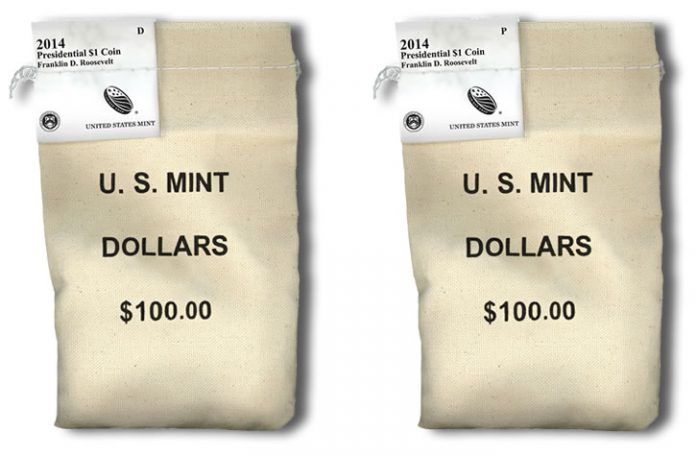 2014 P&D Roosevelt Presidential $1 Coins in bags