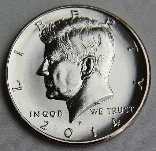 2014-P Uncirculated 50th Anniversary Kennedy Half-Dollar - Obverse 3