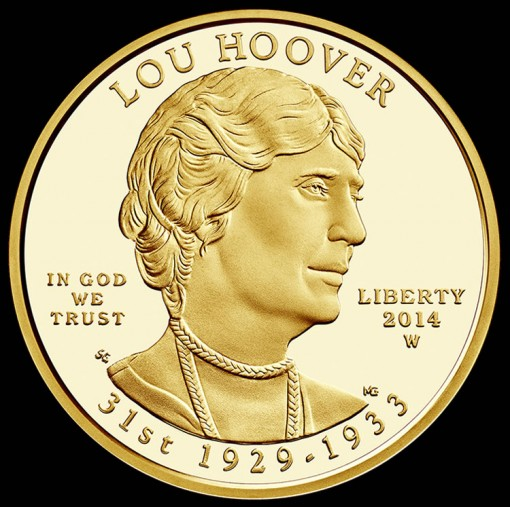 2014-W $10 Proof Lou Hoover First Spouse Gold Coin – Obverse