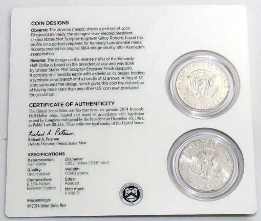 Back Card of 2014 50th Anniversary Kennedy Half-Dollar Uncirculated Coin Set