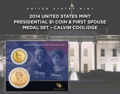 Coolidge Presidential $1 Coin & First Spouse Medal Set