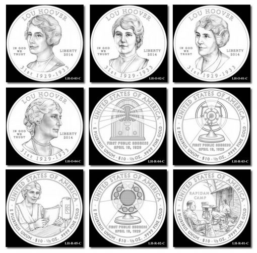 Design Candidates for Lou Hoover First Spouse Gold Coin