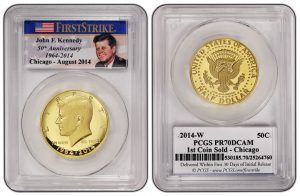 First Chicago Kennedy Gold Coin PCGS PR70 DCAM