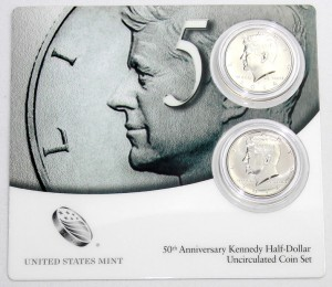 Front Card of 2014 50th Anniversary Kennedy Half-Dollar Uncirculated Coin Set