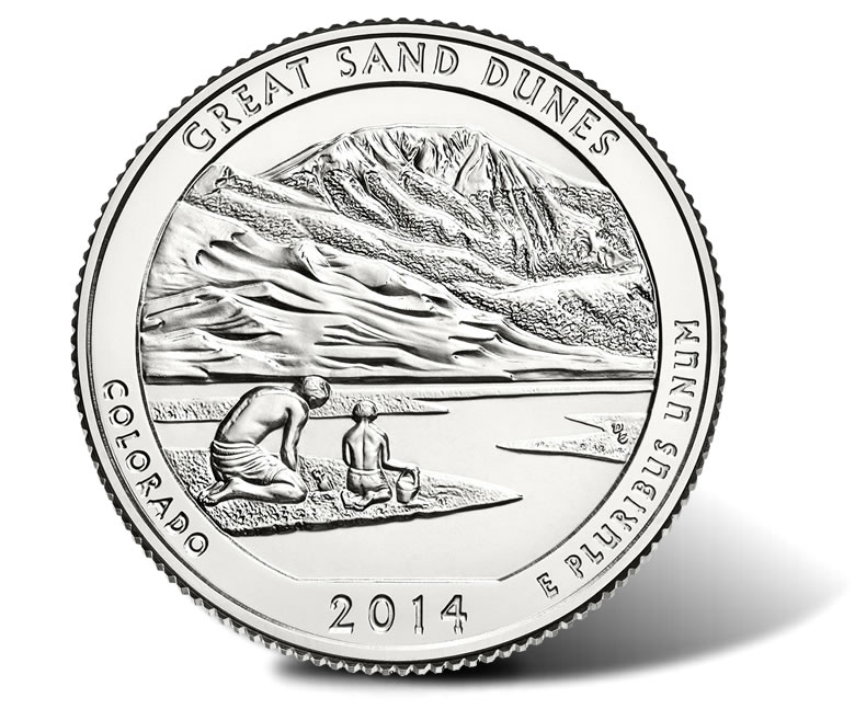 BU ROLL OF 2014-P COLORADO GREAT SAND DUNES  QUARTERS