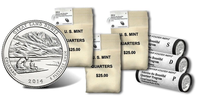 2014 P GREAT SAND DUNES CO AMERICA THE BEAUTIFUL $10 US MINT QUARTER ROLL