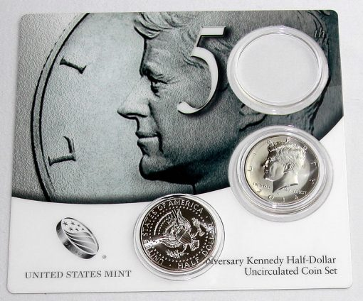 Opened Card of 2014 50th Anniversary Kennedy Half-Dollar Uncirculated Coin Set