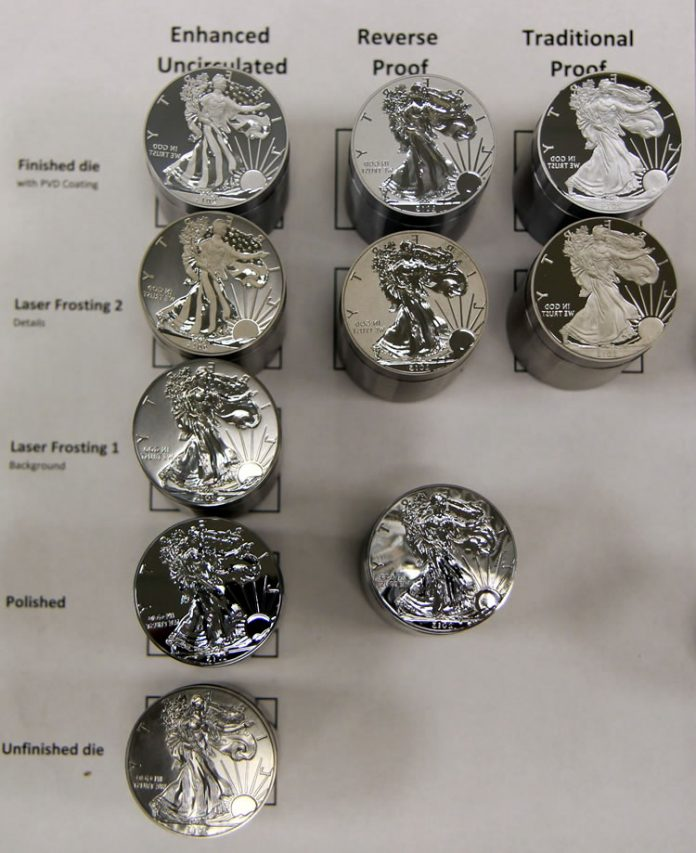Polishing and laser frosting techniques, Silver Eagle obverse dies