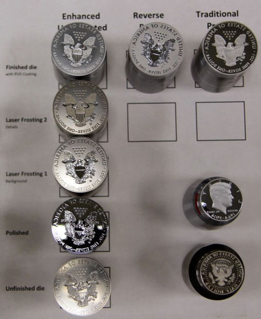 Polishing and laser frosting techniques, Silver Eagle reverse dies