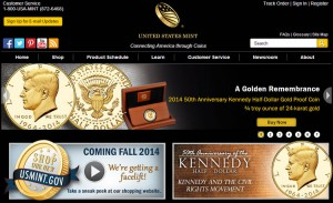 Home page of the U.S. Mint website promoting Kennedy half-dolllars