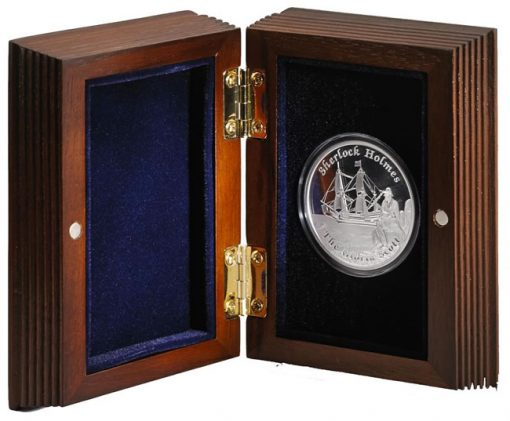 Wooden display case for coins of the Famous Ships That Never Sailed series