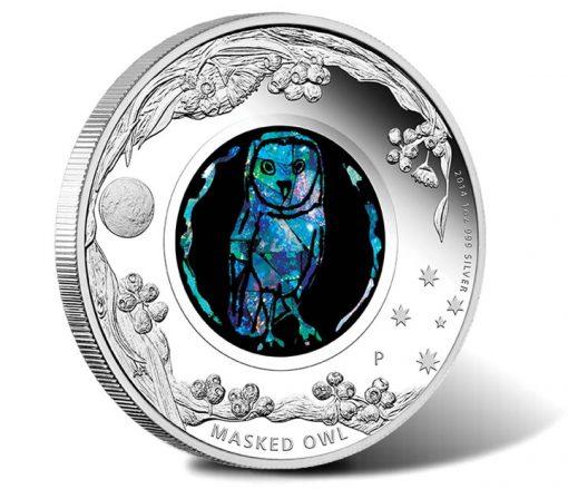 2014 Australian Opal Masked Owl Silver Coin