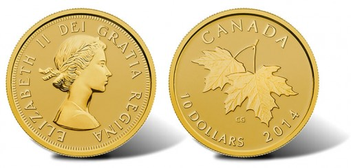 2014 Canadian $10 gold coin with Queen Elizabeth II effigy from 1953 and maple leaves