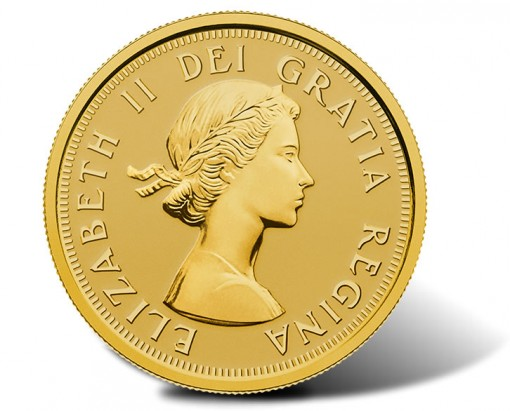 2014 Canadian $10 gold coin with Queen Elizabeth II effigy from 1953 (obverse)